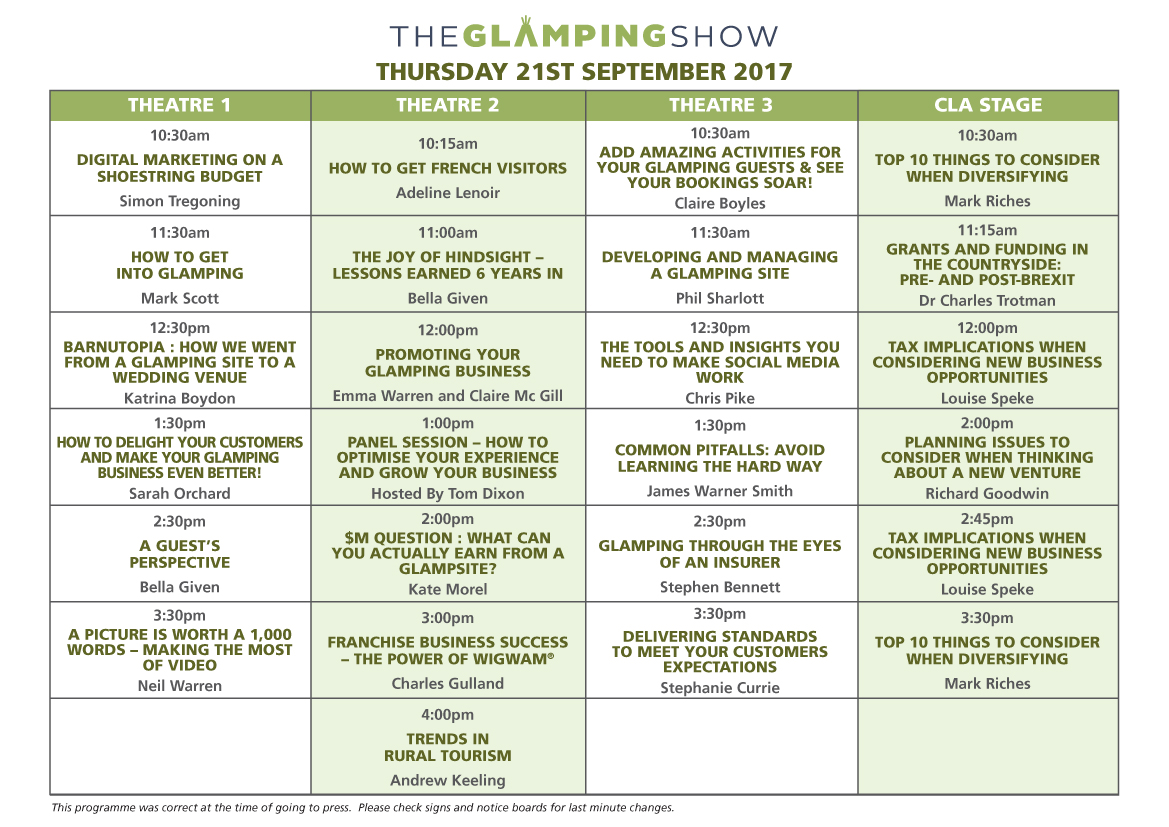 Glamping Show Seminar - Thursday 21 Sept 17
